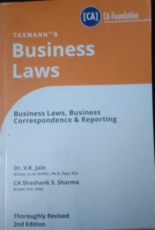 Taxmann's  Business Laws  For CA- Foundation BY Dr. V.K.Jain & Sharma  Taxmann Publications Pvt. Ltd.