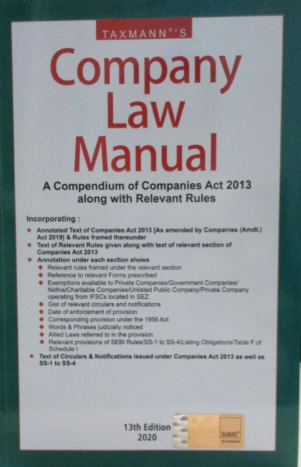 ompany Law Manual - A Compendium Of Companies Act 2013 Along With Relevant Rules 2020 Edition (Paperback, taxmann)