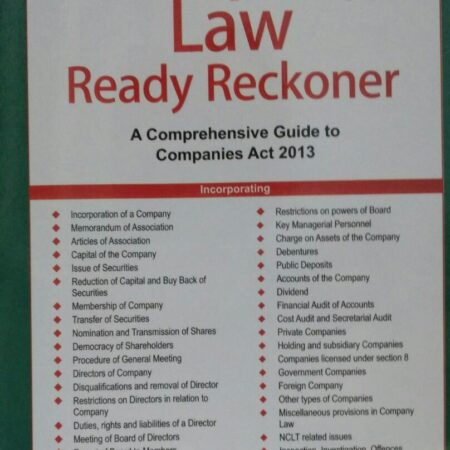 Company Law Ready Reckoner A Comprehensive Guide to Companies Act 2013 8th Edition 2020 byTaxmann Publications