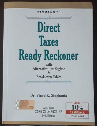 TAXMANN,S DIRECT TAXES READY RECKONER WITH ALTERNATIVE TAX REGIME & BREAK-EVEN TABLES