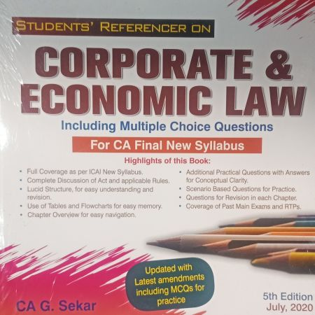 Padhuka's Students Handbook on Corporate & Economic Law With MCQs For CA Final New Syllabus by B Saravana Prasath and G Sekar (5th editon) July 2020