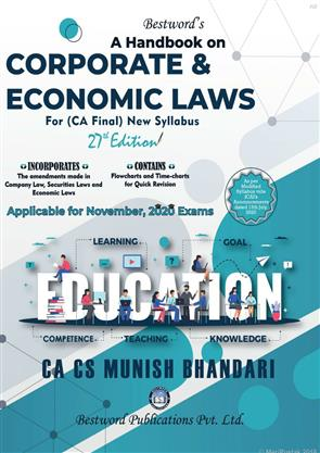 Bestword's A Handbook on Corporate and Economic Laws For CA Final November 2020 Exams New Syllabus by Munish Bhandari, Bestword Publication Pvt Ltd