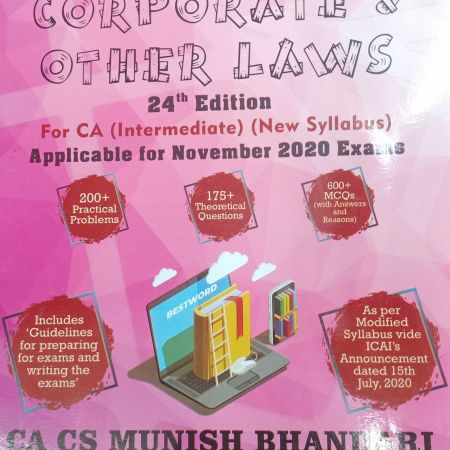 Bestword's A Handbook on Corporate and Other Laws For CA Intermediate November 2020 Exams by Munish Bhandari, Bestword Publications Pvt Ltd