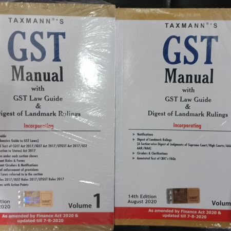 Taxmann's GST Manual with GST Law Guide & Digest of Landmark Rulings (Set of 2 Volumes) 14Th Edition August(As Amended By Finance Act 2020 & 7/08/2020)