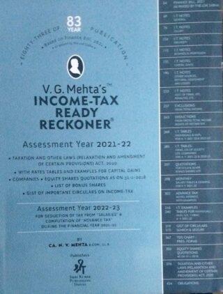 V.G. Mehta's TM INCOME-TAX READY RECKONER Assessment year 2021-22 CA.N.N. MEHTA  SHRI KUBER PUBLISHING HOUSE